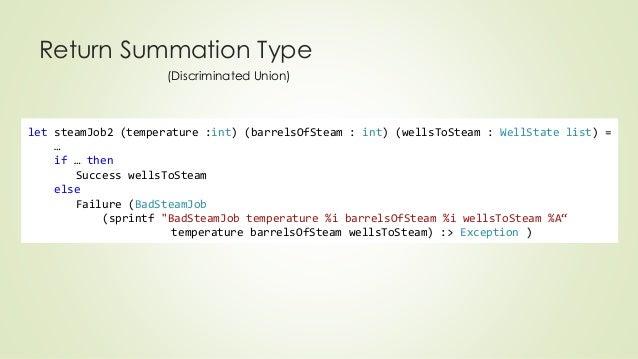 Return Summation Type  (Discriminated Union)  let steamJob2 (temperature :int) (barrelsOfSteam : int) (wellsToSteam : Well...