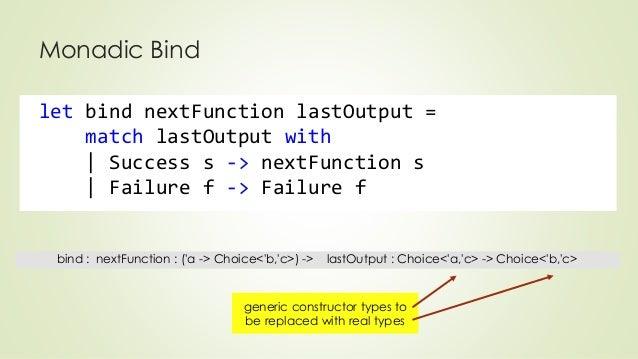 Monadic Bind  let bind nextFunction lastOutput =  match lastOutput with  | Success s -> nextFunction s  | Failure f -> Fai...
