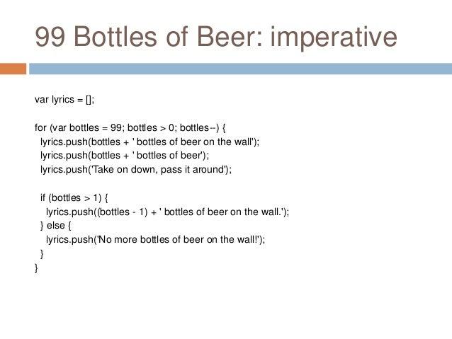 99 Bottles Of Beer Imperative Var Lyrics