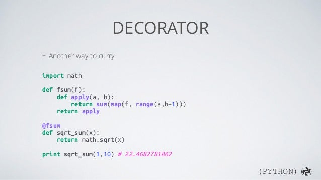 Functional programming in python for Decorator python