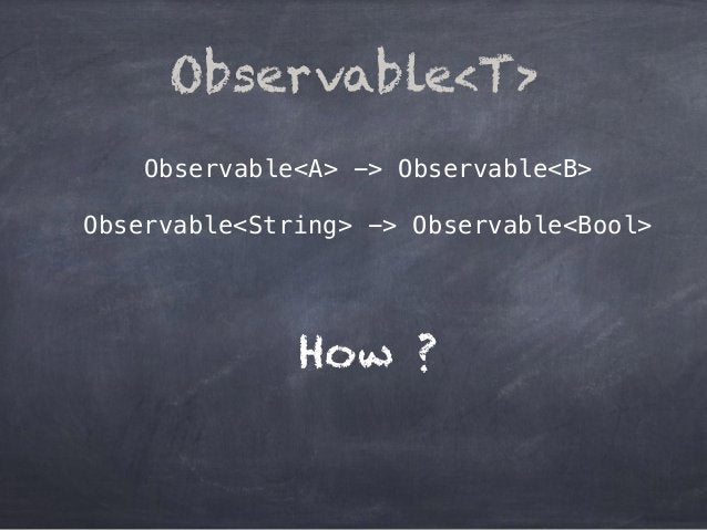 Observable<A> -> Observable<B> Observable<String> -> Observable<Bool> Observable<T> How ?