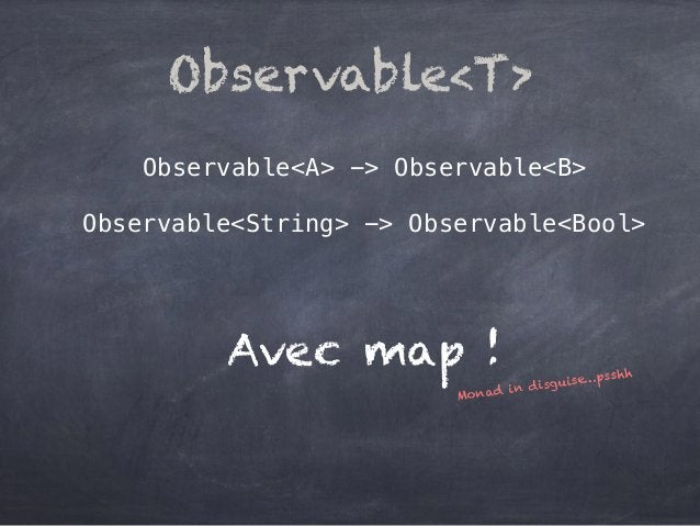 Observable<A> -> Observable<B> Observable<String> -> Observable<Bool> Observable<T> Avec map ! Monad in disguise…psshh