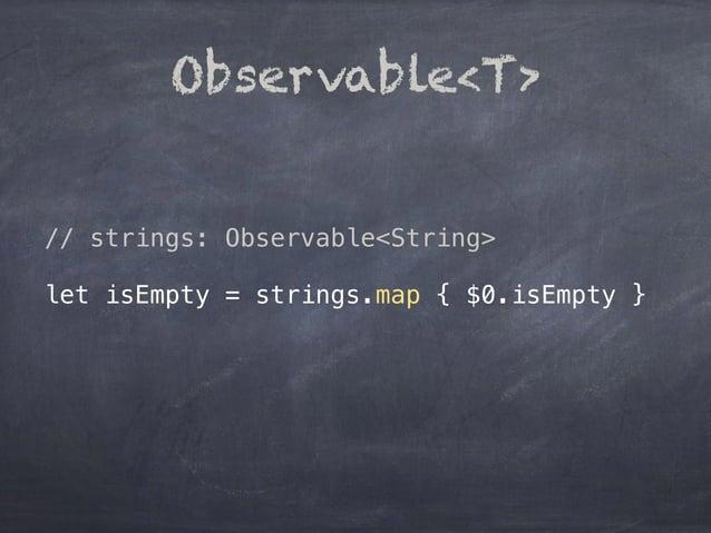 Observable<T> // strings: Observable<String> let isEmpty = strings.map { $0.isEmpty }
