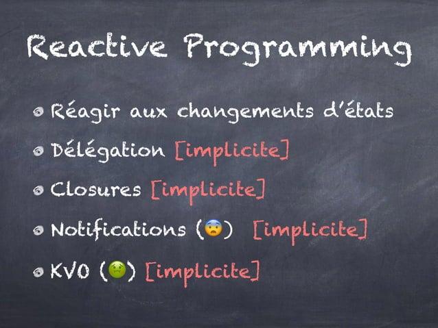 Réagir aux changements d'états Délégation [implicite] Closures [implicite] Notifications (😨) [implicite] KVO (🤢) [implicit...