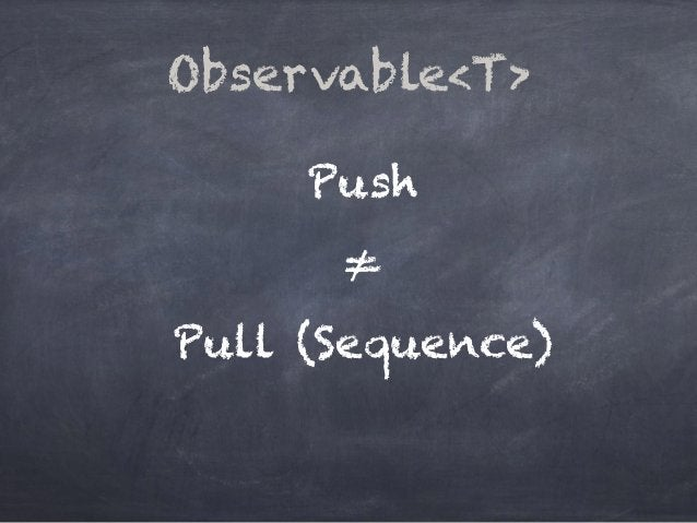 Push ≠ Pull (Sequence) Observable<T>