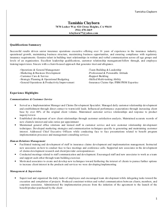 Insurance Claims Adjuster Resume Sample