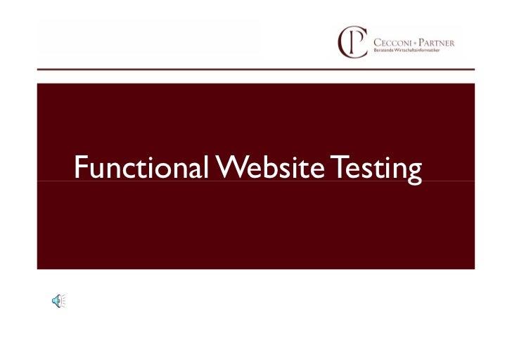 Functional Website Testing