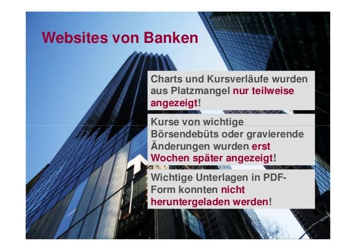 Websites von Banken             Charts und Kursverläufe wurden             aus Platzmangel nur teilweise             angez...