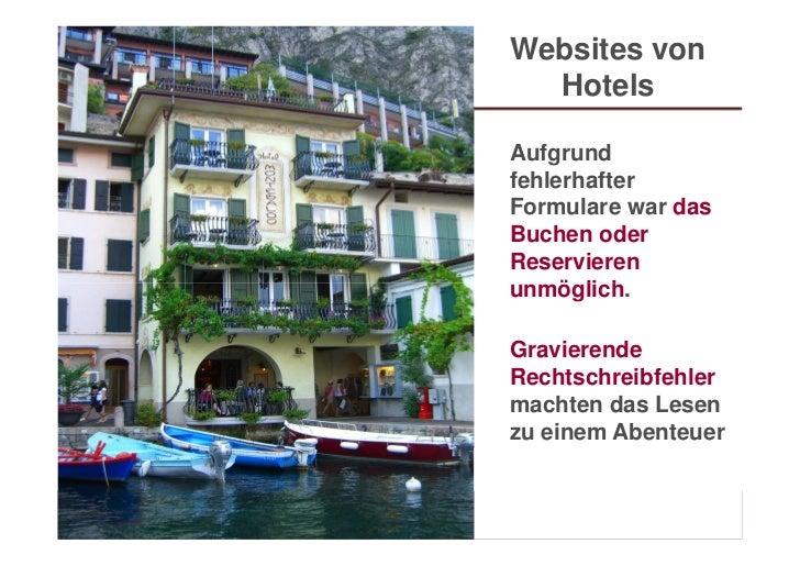 Websites von                               Hotels                             Aufgrund                             fehlerh...