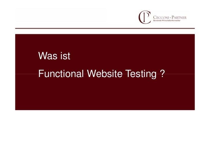 Was istFunctional Website Testing ?