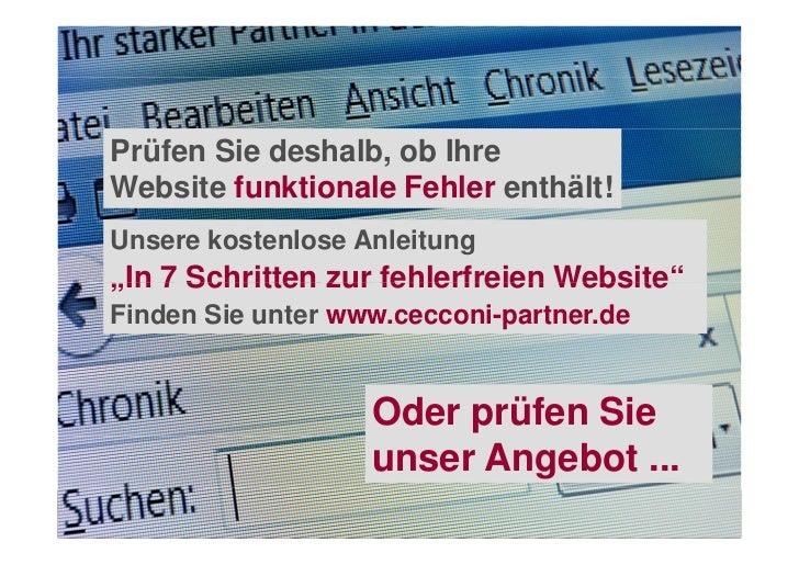 """Prüfen Sie deshalb, ob IhreWebsite funktionale Fehler enthält!Unsere kostenlose Anleitung""""In 7 Schritten zur fehlerfreien ..."""