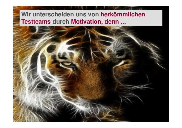 Wir unterscheiden uns von herkömmlichenTestteams durch Motivation, denn ...                 Functional Website Testing