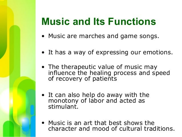 from the function of music to The function of music in the movies is a very wide field music can serve several  purposes that are either important on the emotional side of the.