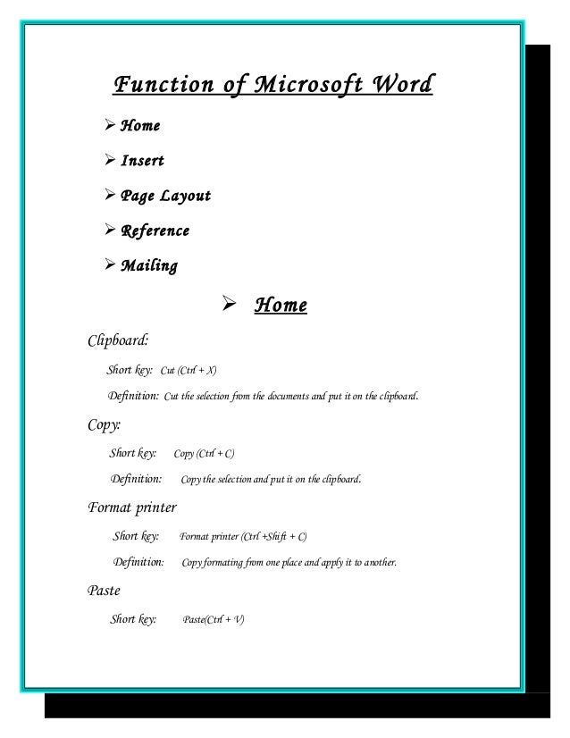 assignment front page in ms word