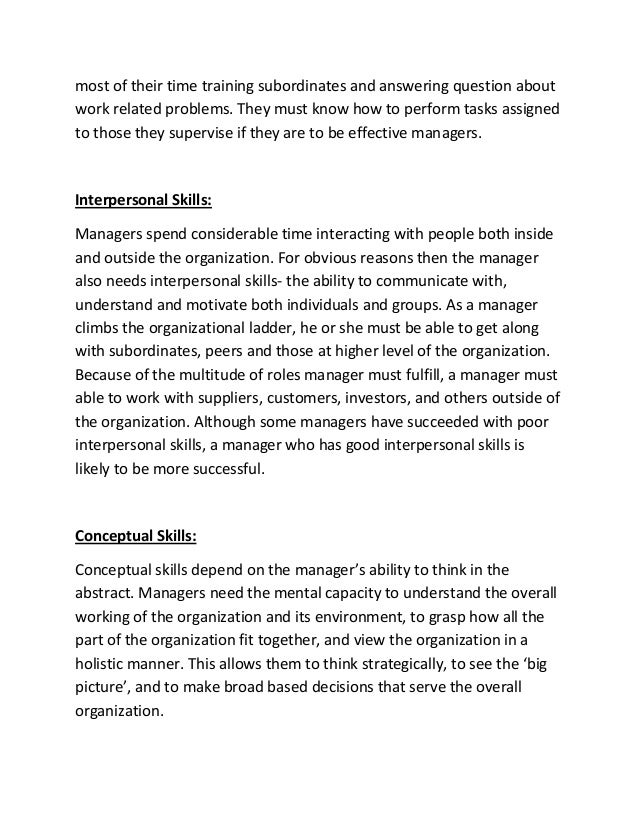 management roles and skills essay Management – efficiency and effectiveness roles and skills of management she performs essay sample written strictly according.