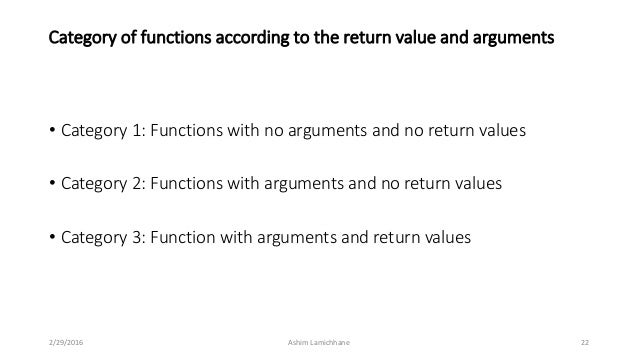 Unit 7 functions 22 category of functions according to the return value malvernweather Choice Image