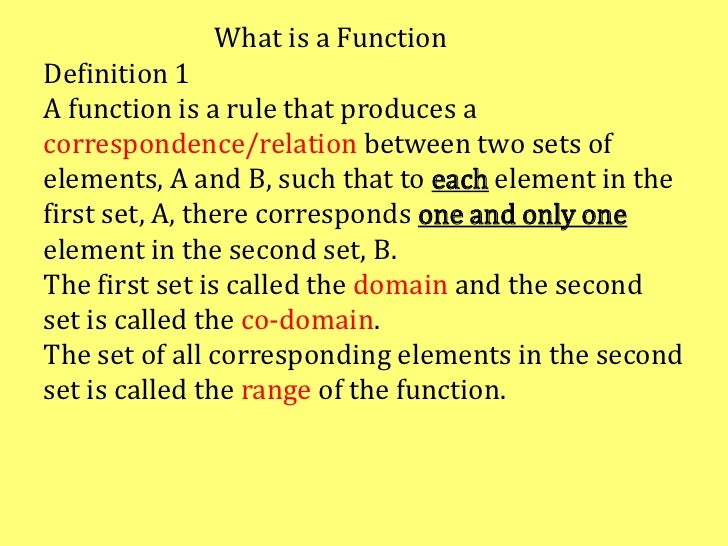 What is a FunctionDefinition 1A function is a rule that produces acorrespondence/relation between two sets ofelements, A a...