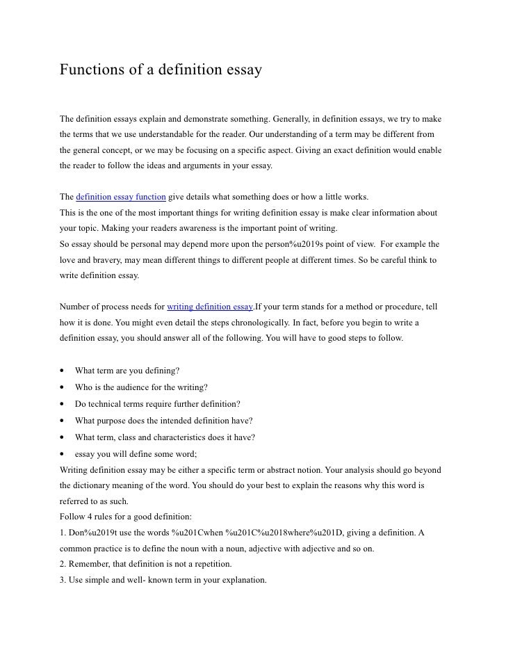 Functions Of A Definition Essay The Definition Essays Explain And  Demonstrate Something.
