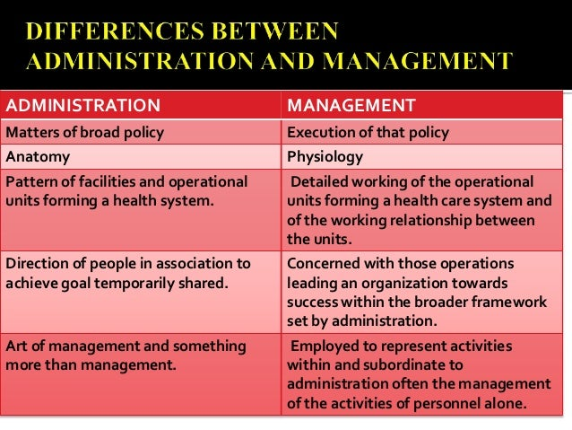 relationship between management and administration