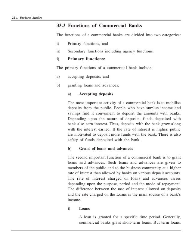 secondary functions of the commercial banks Banking notes on commercial banks, types of commercial banks, primary & secondary functions / services, role of commercial banks in economic development.