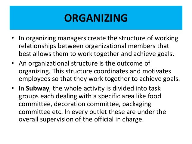 organizing function in management Management - defined: five functions of management: planning is the ongoing process of developing and defining the mission but as a part of the function of organizing but, in view of.