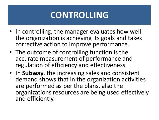 Functions Of Management At Subway (Planning, Organising, Directing, S…