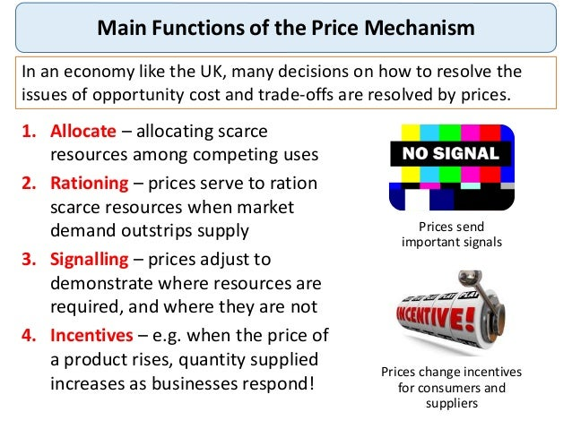 role of price mechanism in econmic Thus, rational economic calculation is impossible in a planned economy because unlike a free market economy the price mechanism is regulated and controlled the various assumptions under which the price system works in a free market economy do not hold well in a socialist economy.