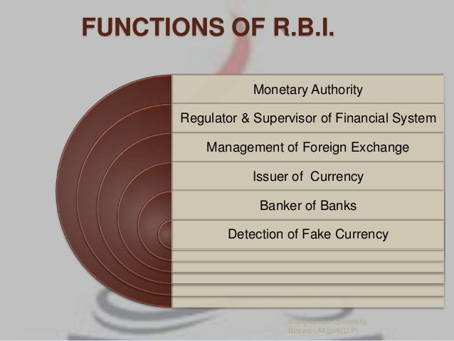 functions of rbi Advertisements: functions performed by reserve bank of india are as follows: i banking functions ii supervisory functions iii promotional functions as per the rbi.