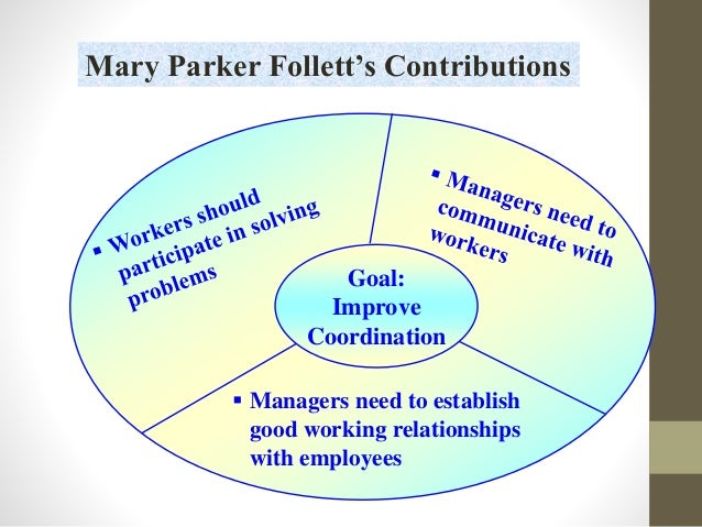 marry parker follet Educational institutions markedly depends upon human relationship mary parker  follett (1933) who was convinced that no one could become a whole person.