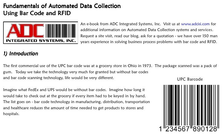 Fundamentals of Automated Data Collection                 Automated Using Bar Code and RFID                               ...