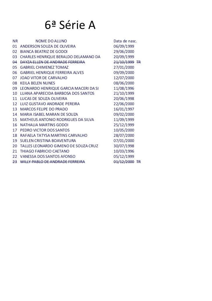 6ª Série ANR           NOME DO ALUNO                   Data de nasc.01   ANDERSON SOUZA DE OLIVEIRA              06/09/199...