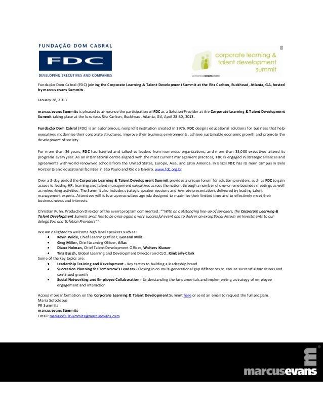 Fundação Dom Cabral (FDC) joining the Corporate Learning & Talent Development Summit at the Ritz Carlton, Buckhead, Atlant...