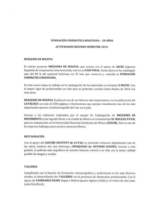 Fundacion cinemateca boliviana 38 años