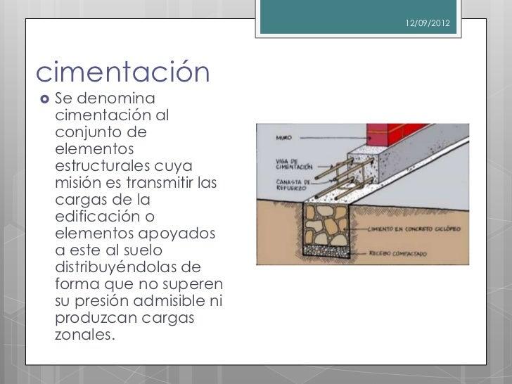 12/09/2012cimentación   Se denomina    cimentación al    conjunto de    elementos    estructurales cuya    misión es tran...