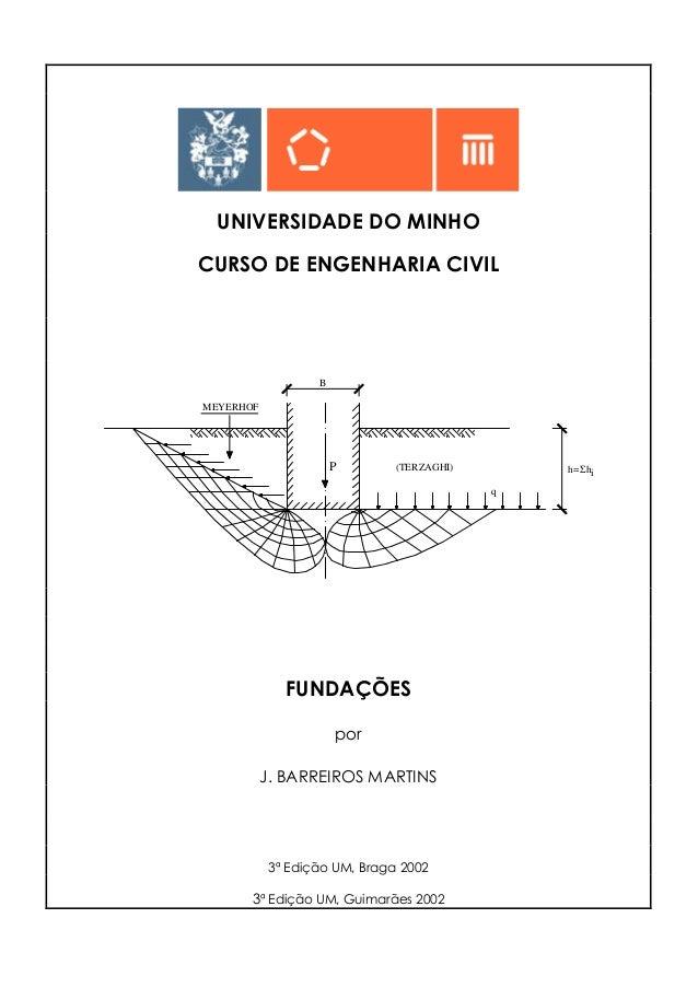 UNIVERSIDADE DO MINHO CURSO DE ENGENHARIA CIVIL P MEYERHOF (TERZAGHI) B h= h q iΣ FUNDAÇÕES por J. BARREIROS MARTINS 3ª Ed...