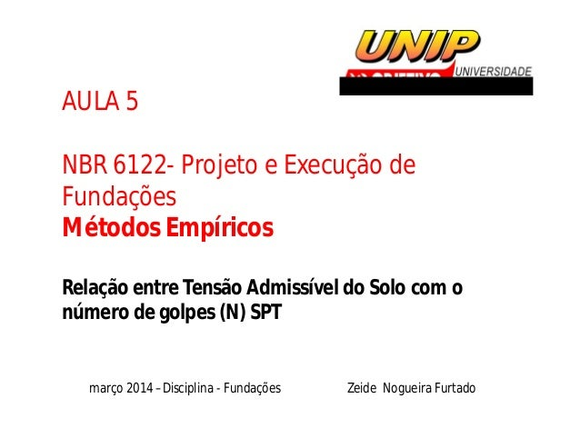 AULA 5 NBR 6122- Projeto e Execução de Fundações Métodos Empíricos Relação entre Tensão Admissível do Solo com o número de...