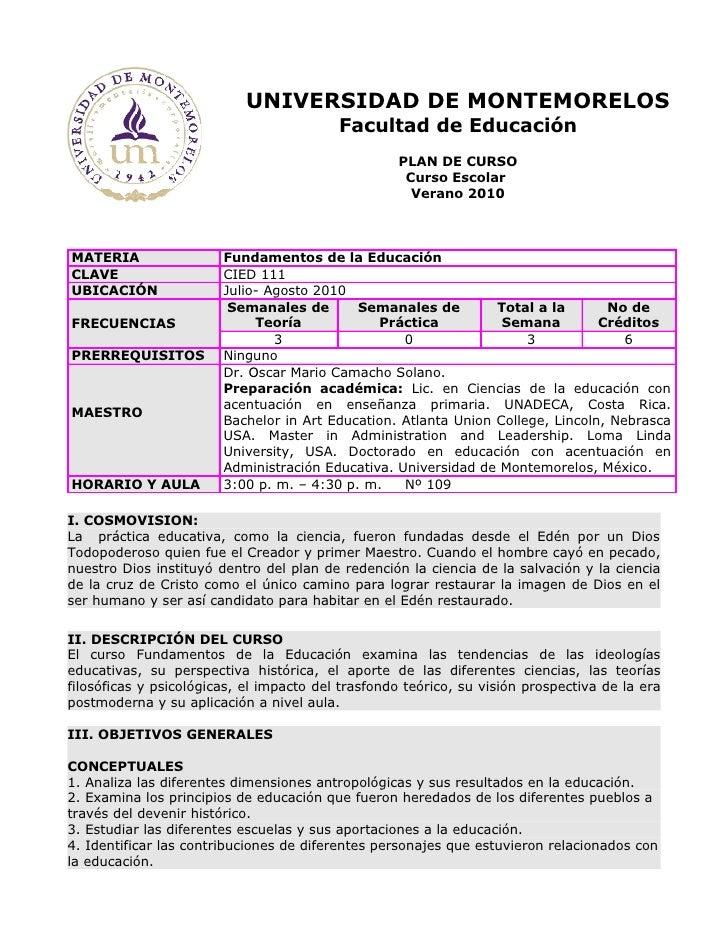 UNIVERSIDAD DE MONTEMORELOS                                           Facultad de Educación                               ...