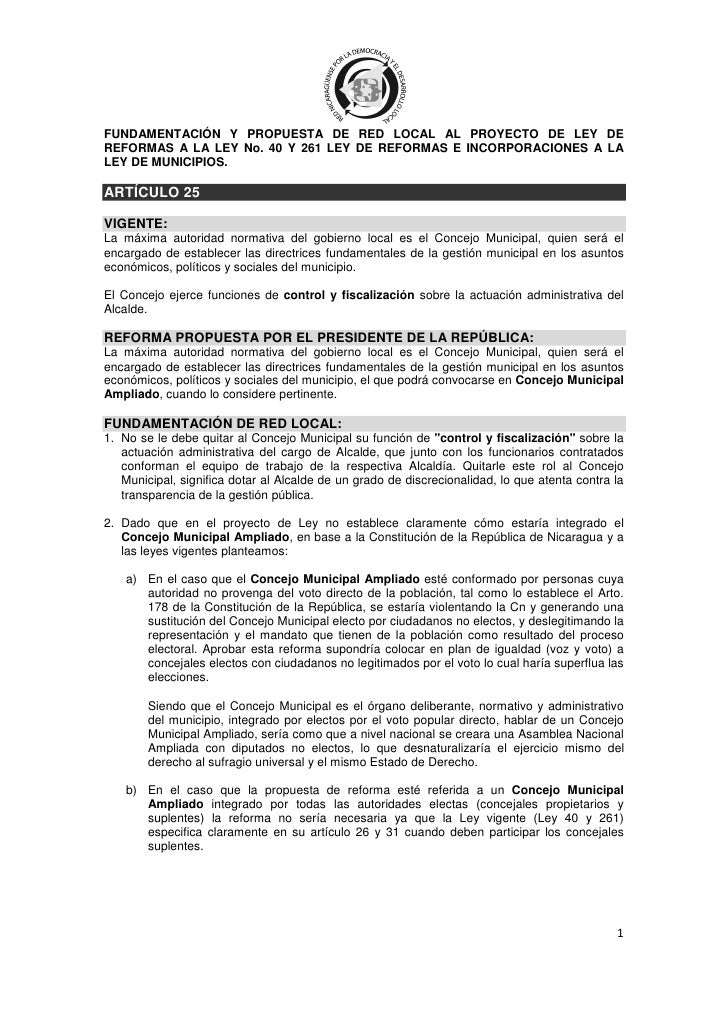 FUNDAMENTACIÓN Y PROPUESTA DE RED LOCAL AL PROYECTO DE LEY DEREFORMAS A LA LEY No. 40 Y 261 LEY DE REFORMAS E INCORPORACIO...