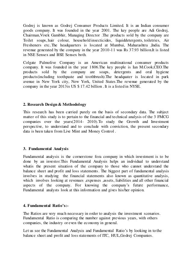 """fundamental analysis of fmcg sector Fundamental analysis of fmcg sector acknowledgement i have immense  pleasure in submitting the project report on """"fundamental analysis of."""