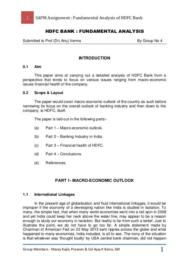 1  SAPM Assignment : Fundamental Analysis of HDFC Bank HDFC BANK : FUNDAMENTAL ANALYSIS  Submitted to Prof (Dr) Anuj Verma...