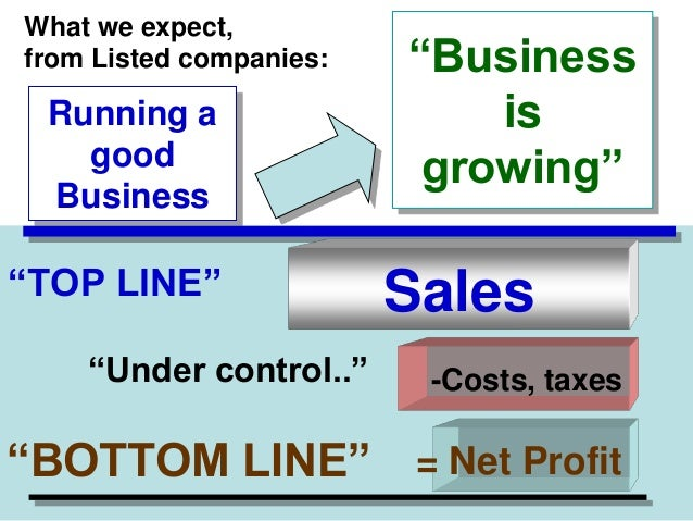 """What we expect, from Listed companies:  Running a good Business  """"TOP LINE"""" """"Under control..""""  """"Business is growing""""  Sale..."""
