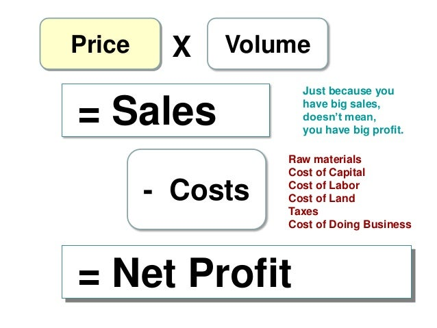 """Price  X  Volume Just because you have big sales, doesn""""t mean, you have big profit.  = Sales - Costs  Raw materials Cost ..."""