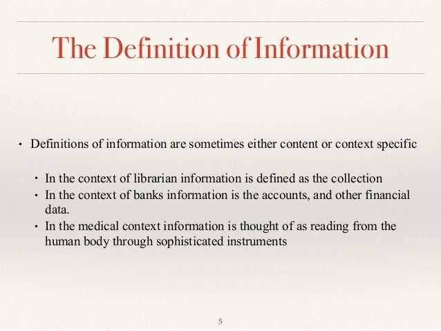 Fundamental concepts of information