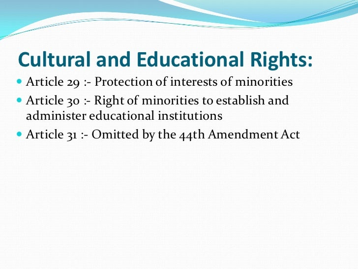 cultural and educational rights in india