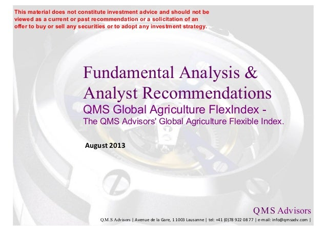 Fundamental Analysis & Analyst Recommendations QMS Global Agriculture FlexIndex - The QMS Advisors' Global Agriculture Fle...