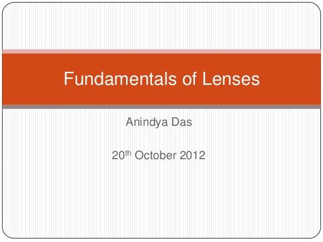 Fundamentals of Lenses       Anindya Das     20th October 2012