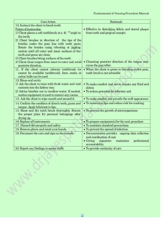 fundamental of nursing procedure manual