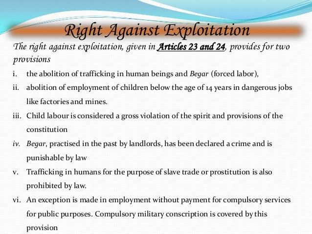 right against exploitation cases