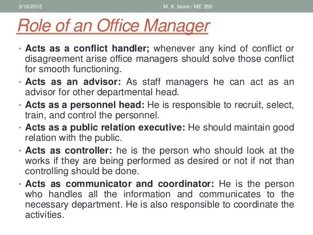 Introduction of industrial management - Role of an office manager ...