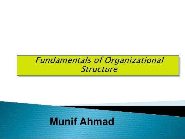 Fundamentals of Organizational Structure Munif Ahmad